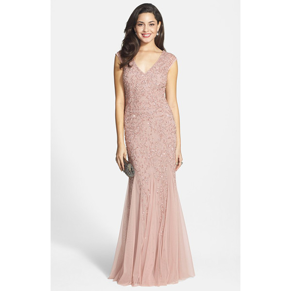 AIDAN MATTOX beaded cap sleeve gown - A beautiful silhouette is the hallmark of a flattering...