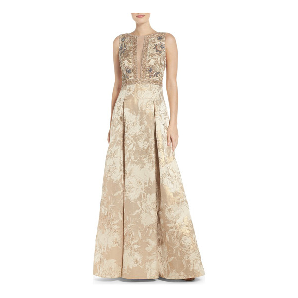 AIDAN MATTOX beaded jacquard ballgown - Dazzle under the limelight in this intricate evening gown...