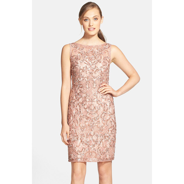 AIDAN MATTOX beaded lace sheath dress - Sequins and beaded clusters give beautiful light-reflecting...