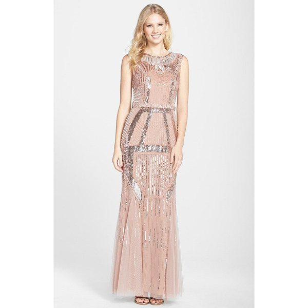 AIDAN MATTOX beaded mesh trumpet gown - Twinkling beads and sequins cast Art Deco shine over the...