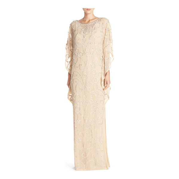AIDAN MATTOX embellished chiffon gown - Glinting embroidery scrolls across a voluminous gown made...