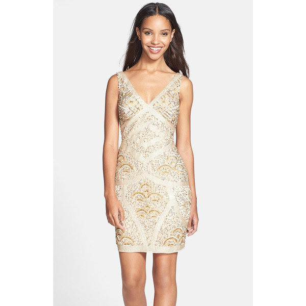 AIDAN MATTOX embellished chiffon sheath dress - Luminous beads and sequins create an intricate,...