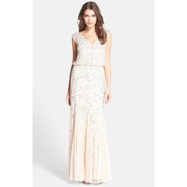AIDAN MATTOX embellished lace blouson gown - This comfortably shaped lace gown is stippled with...