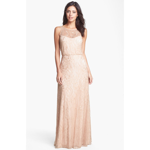 AIDAN MATTOX embellished lace gown - Feathery lace aglow in soft beaded sparkle overlays the...