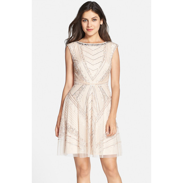AIDAN MATTOX embellished mesh fit & flare dress - Glamorous crystals trace the neckline atop a luxe party...