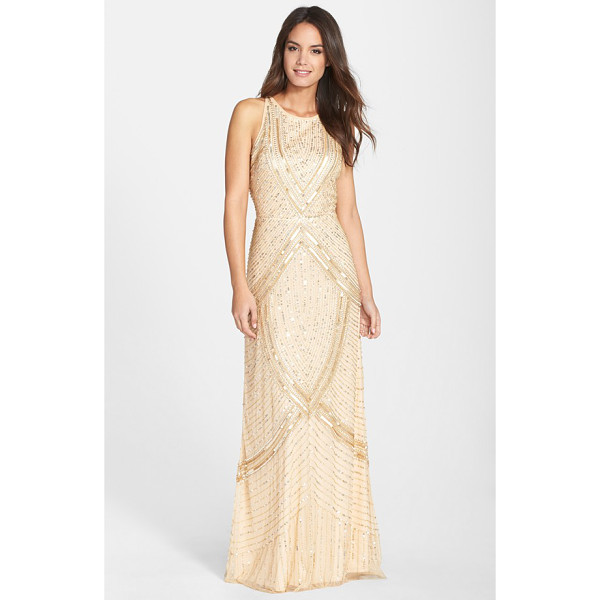 AIDAN MATTOX embellished mesh gown - Glistening sequins carve radiating metallic lines across...