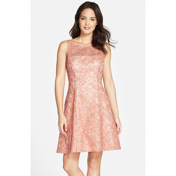 AIDAN MATTOX embroidered lace fit & flare dress - Expert seaming sculpts the flattering fit-and-flare...