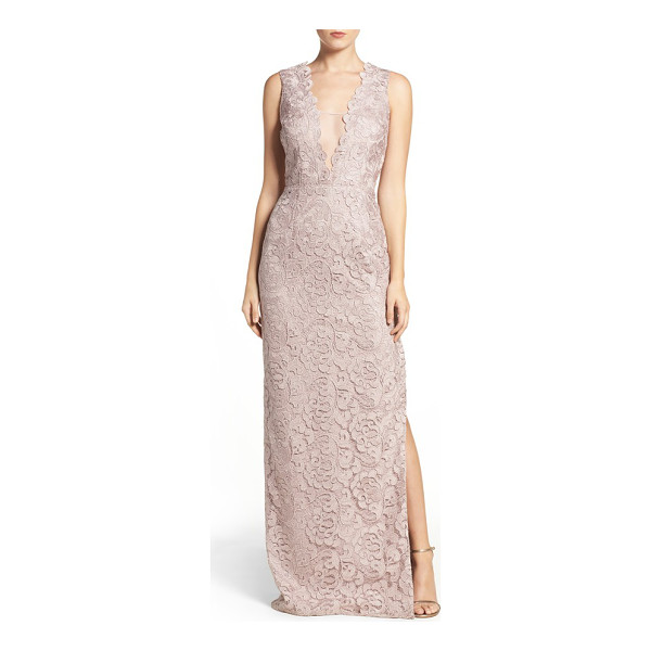 AIDAN MATTOX illusion neck lace gown - This shimmering column gown is veiled in lace and made...