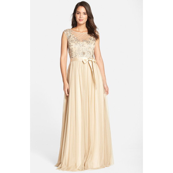 AIDAN MATTOX sequin bodice mesh gown - Sequined leaves sparkle on the delicate cap-sleeve bodice...