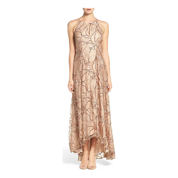 AIDAN MATTOX sequin embroidered lace & silk gown - Embroidered lace echoed in sequins romances a silk-based...