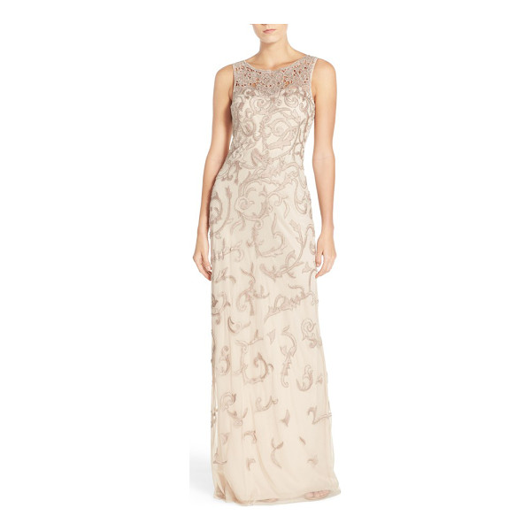 AIDAN MATTOX sleeveless beaded gown - Beaded floral appliques fashion the sheer yoke and twine...