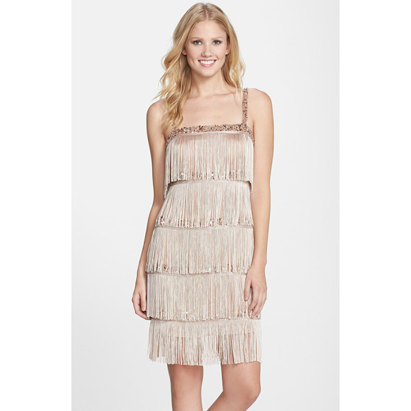 AIDAN MATTOX tiered fringe flapper cocktail dress - Shimmery beaded bands peek through the tiered fringe on a...