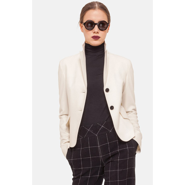 AKRIS PUNTO two-button wool & angora jacket - Expert seaming and a double-vented flap in back perfect the...