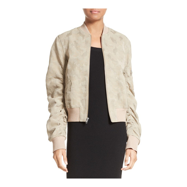 A.L.C. andrew brocade bomber jacket - Ruched sleeves add pleasant volume to this fresh take on...