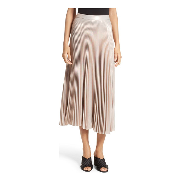 A.L.C. bobby pleated midi skirt - Sewn from crisply pleated rose-gold satin, this elegant,...