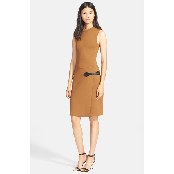 A.L.C. ryan leather trim dress - A buckled leather tab accentuates the faux-wrap styling of...