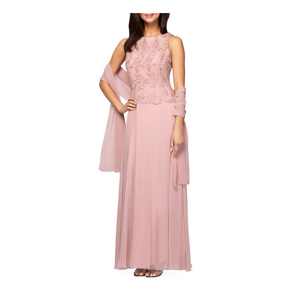 ALEX EVENINGS embroidered chiffon gown & shawl - Corded floral lace finished with scalloped edges overlays...