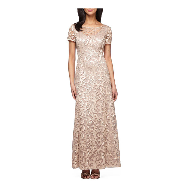 ALEX EVENINGS petite   embroidered woven gown - Lustrous embroidery scrolls over this airy princess-seamed...