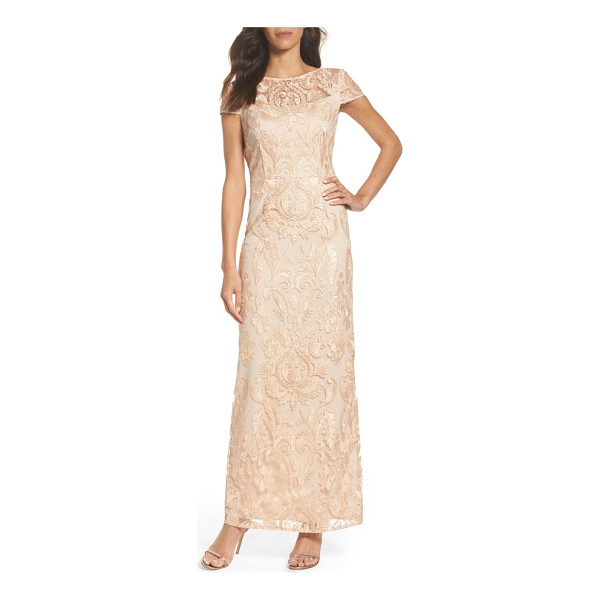 ALEX EVENINGS lace column gown - Make an elegant entrance in this figure-elongating gown in...