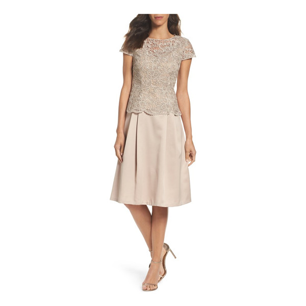 ALEX EVENINGS lace tea-length dress - Scalloped edges and shimmering lace at the overlaid bodice...