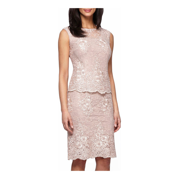ALEX EVENINGS mock two-piece lace sheath dress - Waves of sequins illuminate the lace overlay of an...