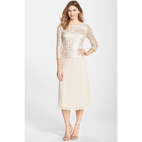 ALEX EVENINGS sequin lace bodice chiffon midi dress - An overlaid bodice of sequined mesh brings an elegant...