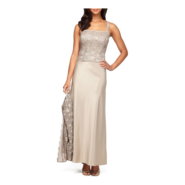 ALEX EVENINGS sequin lace & satin gown with jacket - Spellbinding in a lustrous neutral, this sophisticated...