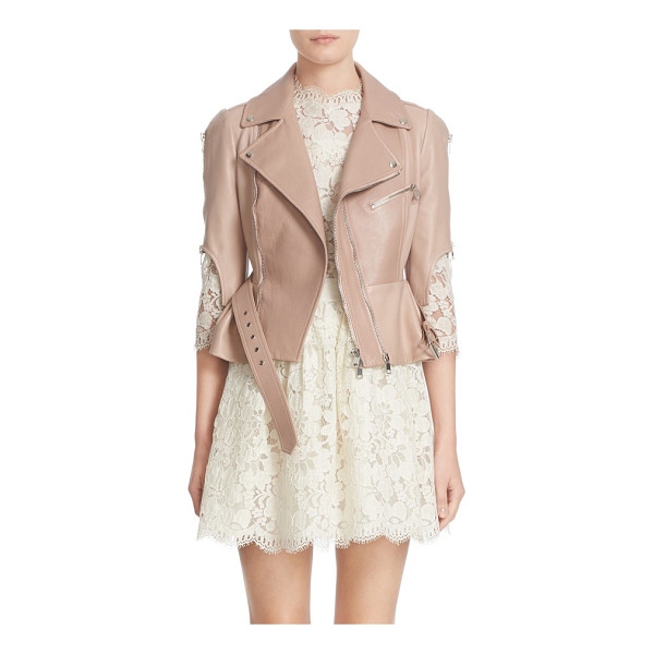 ALEXANDER MCQUEEN crop lambskin leather jacket - A pale, rosy hue and a ruffled peplum soften the rugged...