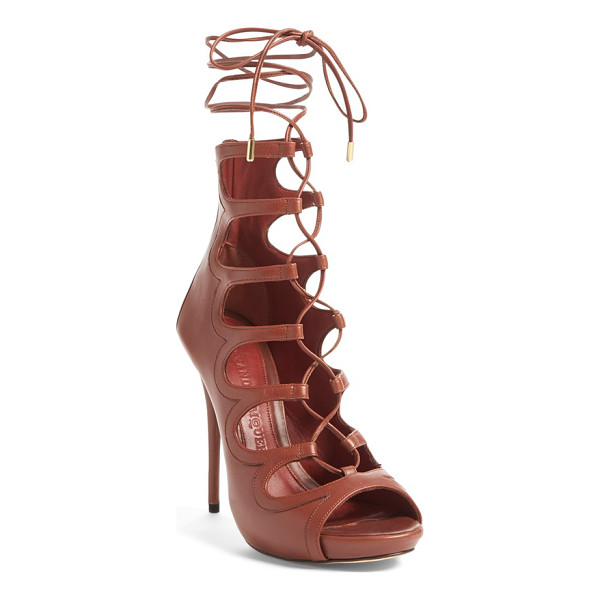 ALEXANDER MCQUEEN lace-up sandal - Slender laces secure a breathtaking cage sandal crafted in...