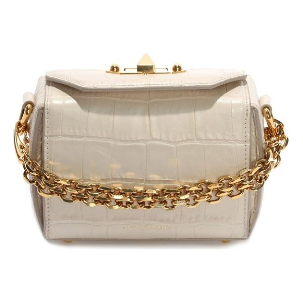 ALEXANDER MCQUEEN mini box croc-embossed leather bag - A compact, croc-embossed bag inspired by the structured...