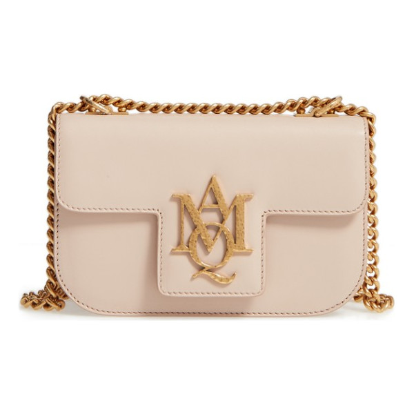 ALEXANDER MCQUEEN small insignia calfskin leather crossbody bag - A golden monogrammed insignia makes an iconic mark on a