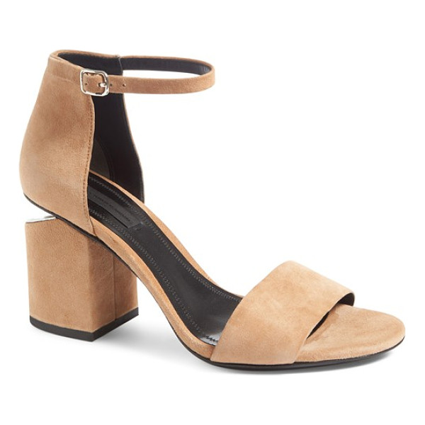 ALEXANDER WANG 'abby' ankle strap sandal - Gilt hardware highlights the notched heel of an
