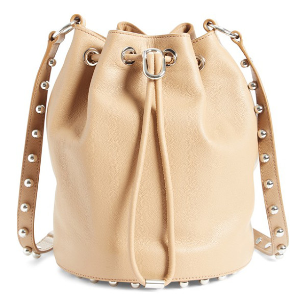 ALEXANDER WANG 'alpha' leather bucket bag - A swath of rosegold studs underscores the modern...