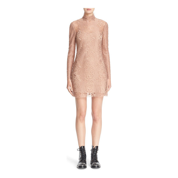 ALEXANDER WANG lace turtleneck dress - Slender leather strips weave unexpected dimension through a...