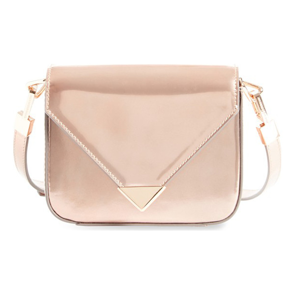 ALEXANDER WANG Mini prisma leather crossbody bag - Gleaming metallic leather in a rose-gold hue furthers the...