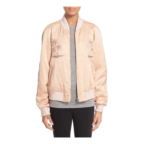 ALEXANDER WANG souvenir embroidered satin jacket - Tonal palm-tree embroidery adds a subtle tropical touch to...