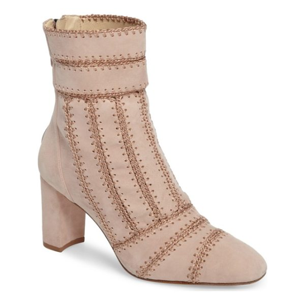 ALEXANDRE BIRMAN beatrice pieced bootie - Chain-stitch embroidery brings striking texture and...