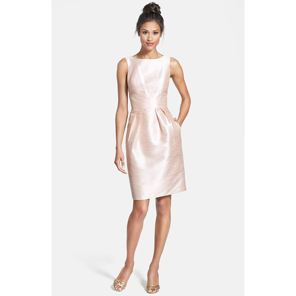 ALFRED SUNG boatneck sheath dress - A silky dupioni weave with subtle polish tailors a classic...