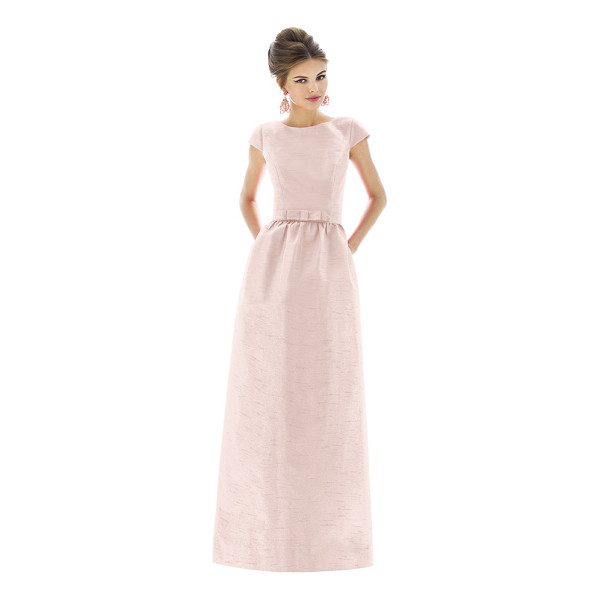 ALFRED SUNG cap sleeve dupioni full length dress - In a timeless and universally flattering silhouette, a lush...