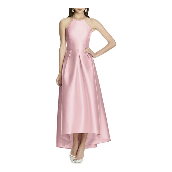 ALFRED SUNG high/low hem sateen halter dress - A luminous gown of sateen twill is timelessly elegant with...