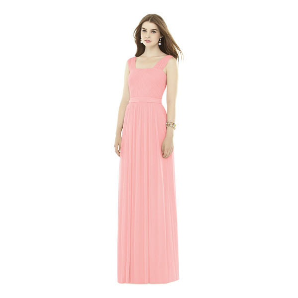 ALFRED SUNG pleat chiffon knit a-line gown with belt - A gown of iconic elegance is shaped from a fluid chiffon...