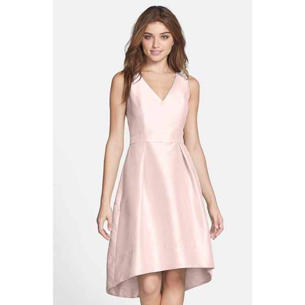 ALFRED SUNG satin high/low fit & flare dress - A perfectly belled skirt with a graceful high/low hemline...