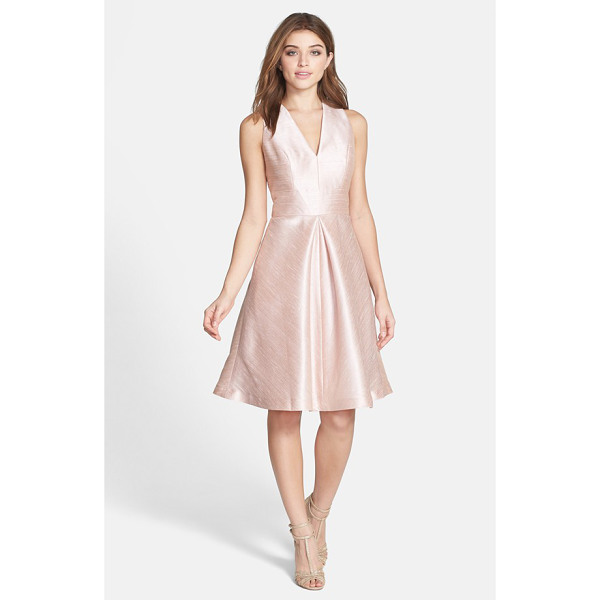 ALFRED SUNG v-neck dupioni cocktail dress - A sleeveless V-neck bodice, inset waist and full,...