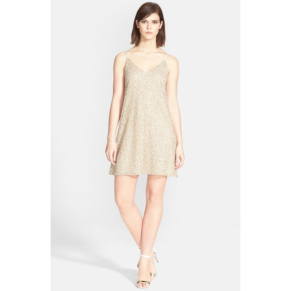 ALICE + OLIVIA kalia beaded v-neck dress - Allover beadwork gives a glamorous golden shine to this...