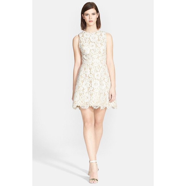 ALICE + OLIVIA leann lace fit & flare dress - A gorgeous floral-lace overlay with eyelash-fringe scallops...