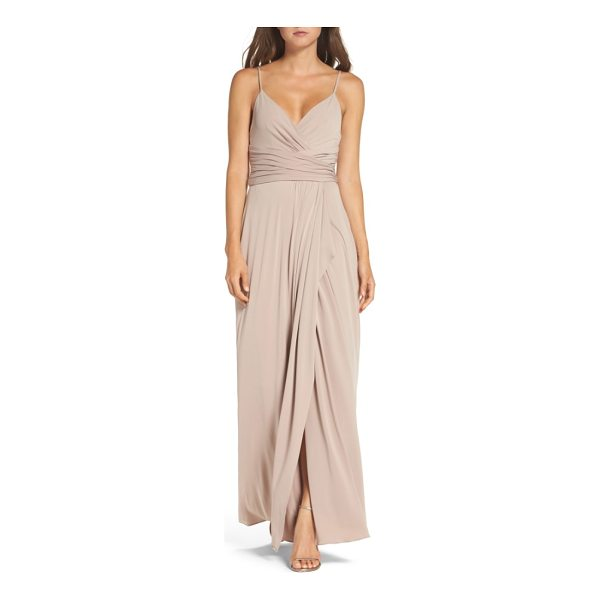 AMSALE celina mock wrap gown - A surplice neckline dips low for a sultry feel in this...