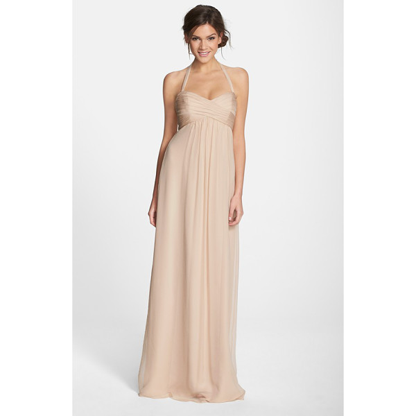AMSALE chiffon halter gown - Beautifully crinkled chiffon fashions an Empire-waist gown...