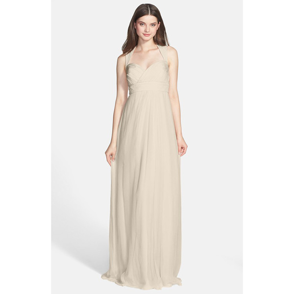 AMSALE crinkled silk chiffon gown - A daring cutout closed by a floating tie at the neck shows...