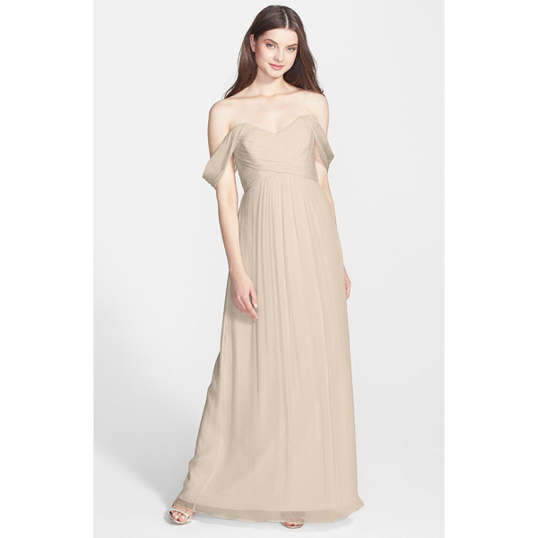 AMSALE convertible crinkled silk chiffon gown - Lovely sheer straps suspending a dreamy silk-chiffon gown...