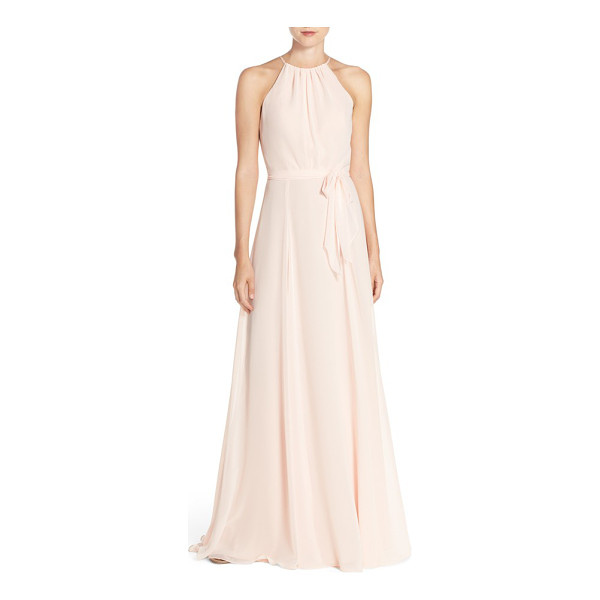 AMSALE 'delaney' belted a-line chiffon halter dress - Softly pleated at the high neckline and fitted at the...